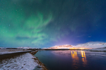 Aurora borealis or nothern light in iceland