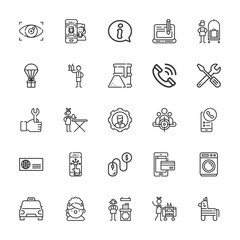 Collection of 25 service outline icons