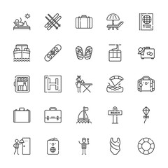 Collection of 25 vacation outline icons