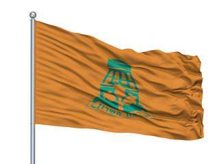 Ramat Hasharon City Flag On Flagpole, Country Israel, Isolated On White Background