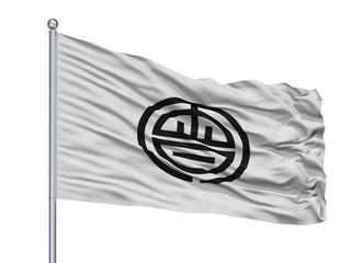 Aizuwakamatsu City Flag On Flagpole, Country Japan, Fukushima Prefecture, Isolated On White Background