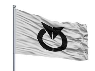 Chino City Flag On Flagpole, Country Japan, Nagano Prefecture, Isolated On White Background