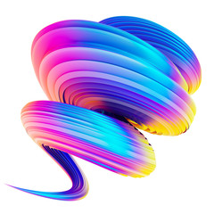 Holographic trendy abstract wave spiral twisted shape