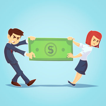 Business team compeition, The quarrel between employees. Concept business vector illustration, Conflict, Flat business cartoon dedign. A couple fights over money pulling on a giant dollar bill