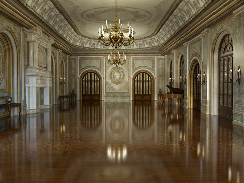 3d render of a golden luxury palace interior decorated with white marble and golden decor