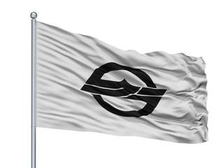 Kurashiki City Flag On Flagpole, Country Japan, Okayama Prefecture, Isolated On White Background