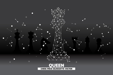 low polygon dot connected line of queen chess piece vector. icon for planning and strategy thinking