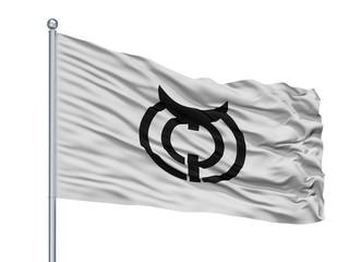 Makurazaki City Flag On Flagpole, Country Japan, Kagoshima Prefecture, Isolated On White Background