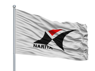 Narita City Flag On Flagpole, Country Japan, Chiba Prefecture, Isolated On White Background