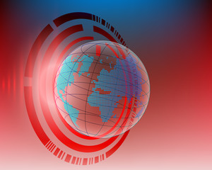 World map Red Cyber line attack by hacker concept background . vector illustration eps10