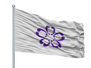 Sakura City Flag On Flagpole, Country Japan, Chiba Prefecture, Isolated On White Background