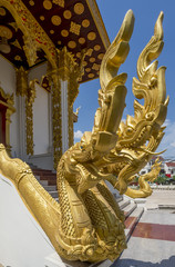 Beautiful naga at the entrance to a Buddhist temple in Vientiane, Laos
