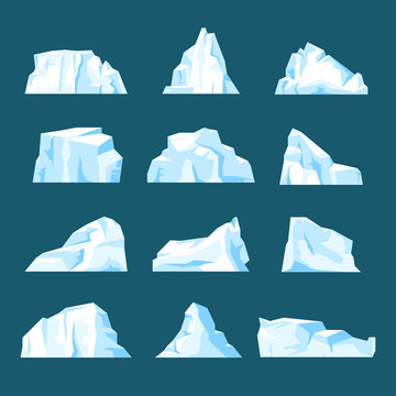 Floating cartoon iceberg set isolated from background