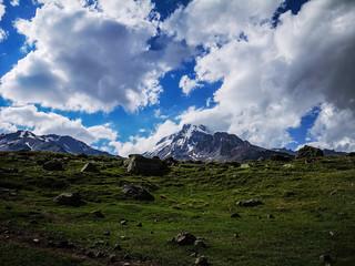 Peak of high mountain mount kazbek