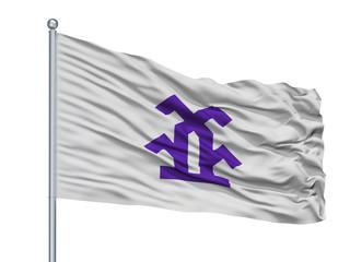 Takayama City Flag On Flagpole, Country Japan, Gifu Prefecture, Isolated On White Background