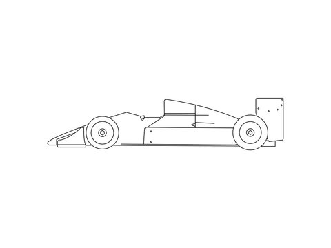 Formula 1 race car line drawing sketch vector