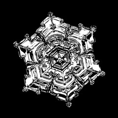 White snowflake on black background. This illustration based on macro photo of real snow crystal: beautiful star plate with fine hexagonal symmetry, six short, broad arms and glossy surface.