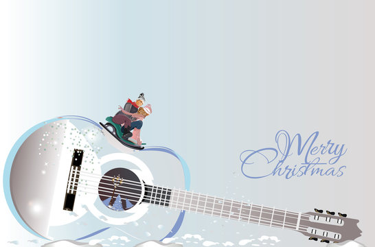 Winter abstract musical design with a guitar and a couple on the sledge. Hand drawn vector illustration.