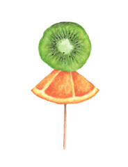 Slices of orange and kiwi on a wooden stick.isolated on white background. Watercolor illustration.