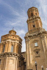 Towers of the historic cathedral in Tudela, Spain