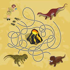 Kids maze. Labyrinth of dino way. Help the researcher find traces of dinosaurs