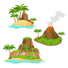 Vector illustration of three different islands on white background in cartoon style. Islands with volcano, palm trees and mountains in bright colors flat style.