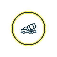 Vector illustration of construction car icon line. Beautiful transit element also can be used as concrete mixer icon element.