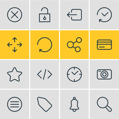 Vector illustration of 16 application icons line style. Editable set of code, credit card, close and other icon elements.