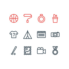 Vector illustration of 12 lifestyle icons line style. Editable set of uniform, video cam, clapper and other icon elements.