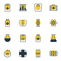 Vector illustration of 16 medicine icons line style. Editable set of painkiller, medical kit, pill bottle and other icon elements.