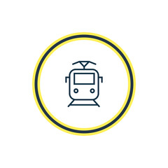 Vector illustration of suburban train icon line. Beautiful carrying element also can be used as tram icon element.