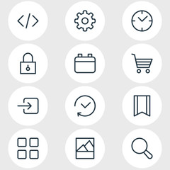 Vector illustration of 12 app icons line style. Editable set of calendar, image, code and other icon elements.