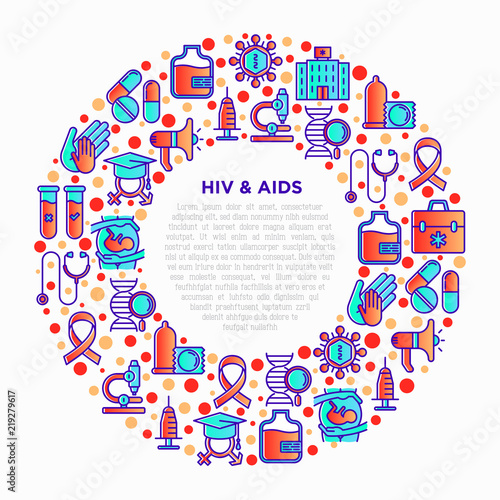 HIV and AIDs concept in circle with thin line icons: safe