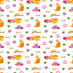 watercolor illustration of a cat seamless pattern with red cats