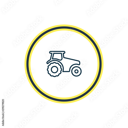 Vector Illustration Of Tractor Icon Line Beautiful Transport