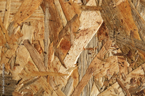 Close up view of oriented strand board (OSB) background