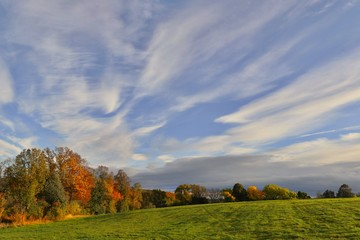 Beautiful autumn landscape. Czech typical autumn landscape with clouds.