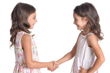 Portrait of two beautiful little girls on white background