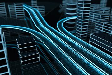 3D Datenautobahn von schräg oben Fotoväggar
