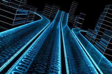 3D Datenautobahn von schräg dynamisch