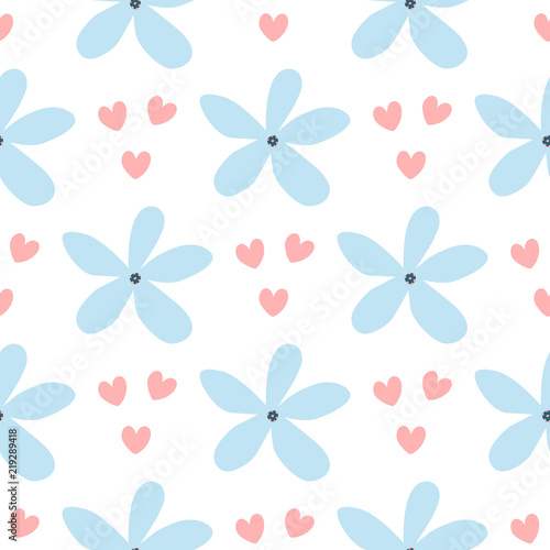 Repeated hearts and flowers drawn by hand  Simple floral seamless