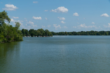 Wide shot of beautiful lake in the summer time.
