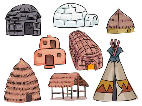 Native American Houses Illustration
