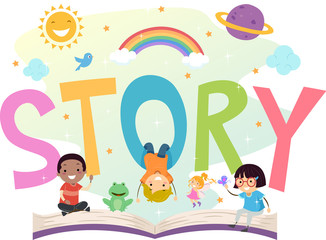 Stickman Kids Story Open Book Illustration