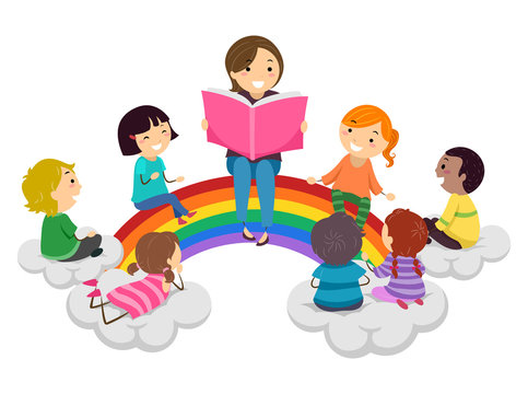 Stickman Kids Storytelling Rainbow Illustration