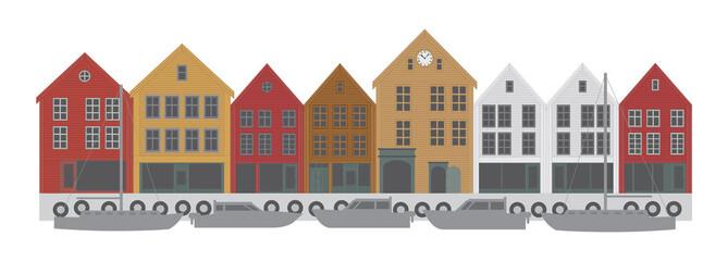 Bergen Norway Downtown Waterfront vector  Illustration