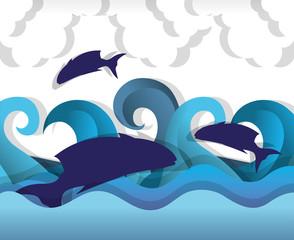 Foto op Plexiglas Dolfijnen Paper art undersea