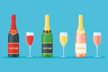 Set of bottles and glasses of champagne isolated on blue background. Red, white and rose sparkling wines. Flat style vector illustration.