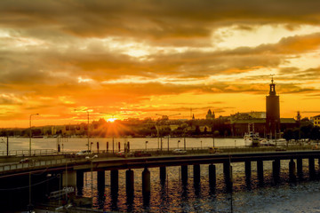 Wall Mural - View of Stockholm city at sunset time, Sweden.