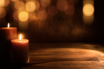 Candles with golden bokeh